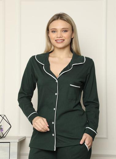 Akbeniz Kadın %100 Pamuk Penye Önden Düğmeli Uzun Kol Pijama Takım 2715 Yeşil
